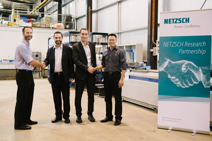 NETZSCH representatives recently visited USQ to commemorate the new partnership including (from left) USQ Centre for Future Materials Director Professor Peter Schubel, Managing Director NETZSCH Australia John Coles, ANZ Product Manager NETZSCH Analyzing and Testing Andrew Gillen and USQ Centre for Future Materials Manager Dr Xuesen Zeng. © USQ