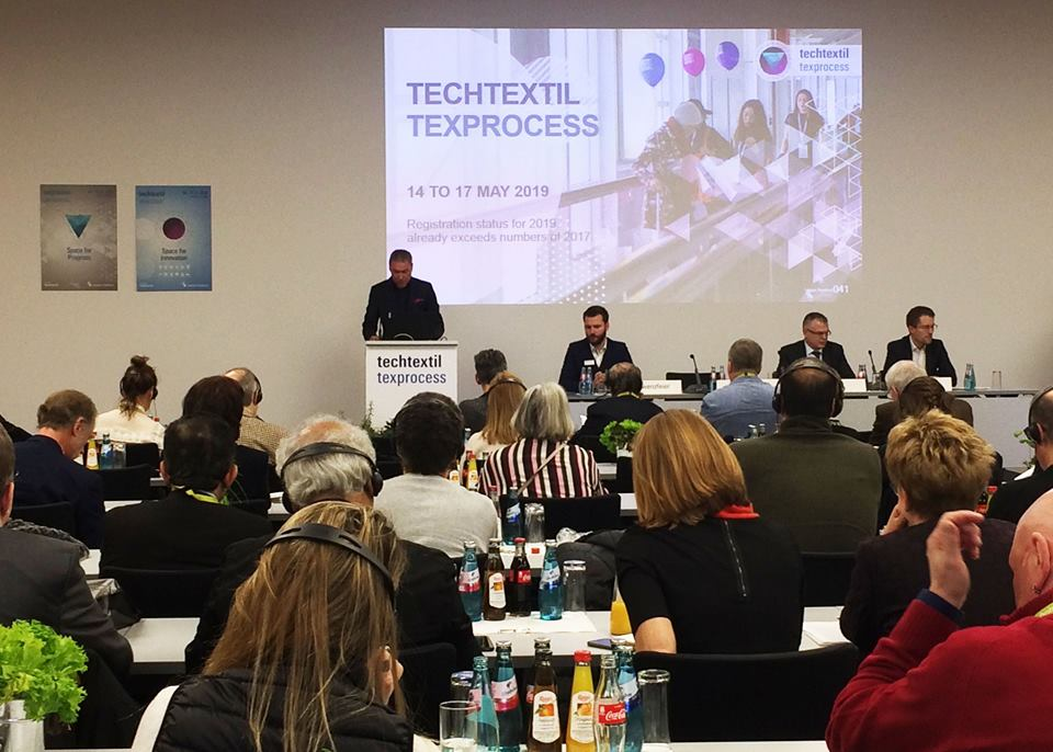 A press conference took place last month for the upcoming Techtextil and Texprocess 2019 shows. © Adrian Wilson