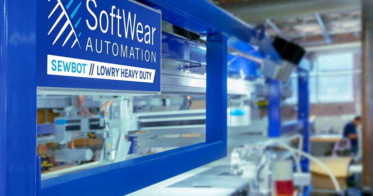 Sewbot is a fully automated sewing workline built to scale sewn goods manufacturing. © Softwear Automation