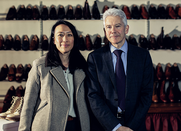 Nancy Johnston, Founder and Creative Director, House of Tengri, and Jonathan Church, fifth generation shoemaker. © Tengri
