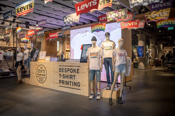 YR worked with Levi's to roll out an innovative print bar across Europe and US stores. © YR