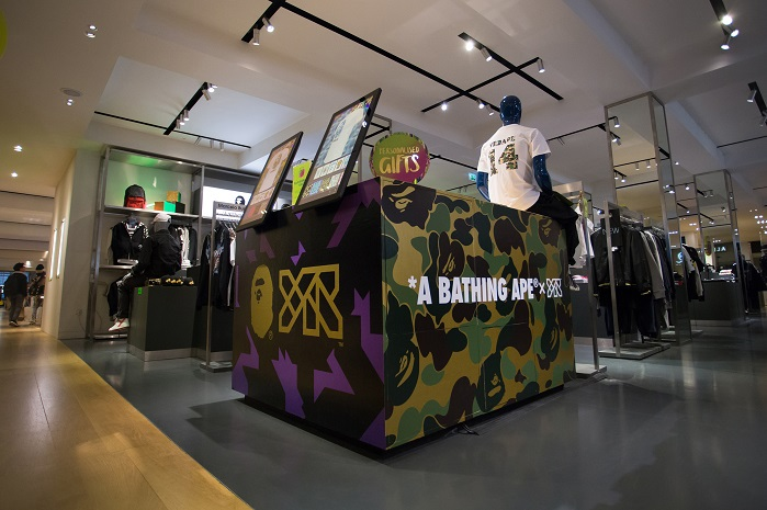 Taking place on the menswear floor of Selfridges, Oxford Street, the YR x A Bathing Ape collaboration offered exclusive prints and patterns designed specifically for the collaboration. © YR