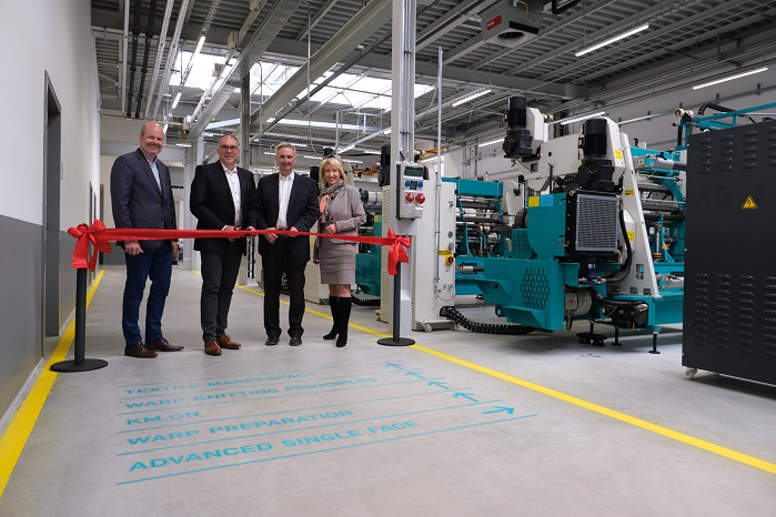 Oliver Mathews, the Vice President Sales and Marketing of the Warp Knitting Business Unit, Arno Gärtner, the CEO, Dr. Helmut Pressl, the CFO, and Christine Wolters, the Head of Corporate Communications at Karl Mayer, at the handover of the new premises to the Karl Mayer Academy on 30 April 2019 at the start of the training programme in May. © Karl Mayer