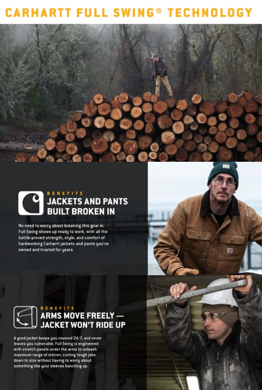 The Full Swing patented technology is offered in several of Carhartt's outwear styles. © Carhartt
