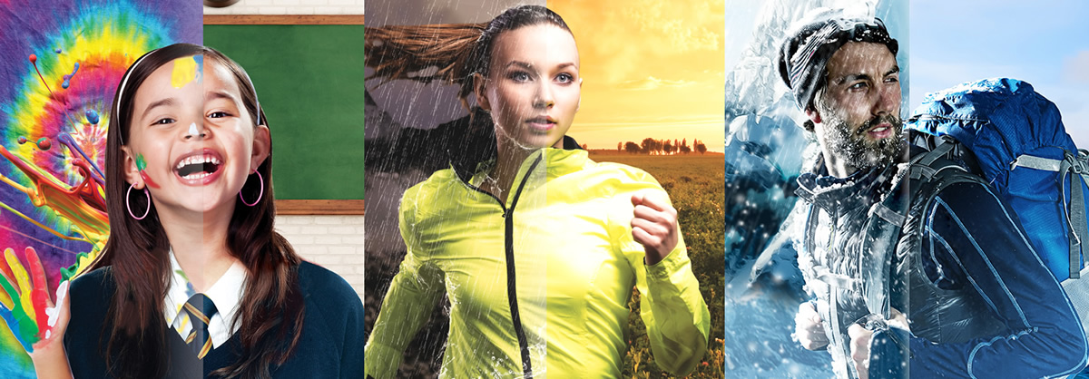 High IQ Repel is designed to help mills, brands and retailers meet global demand for eco-friendly apparel with rain and stain protection. © Huntsman Textile Effects