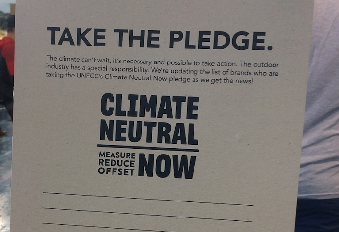 Icebug's commitment to the Climate Neutral pledge at OutDoor by ISPO 2019. © Anne Prahl