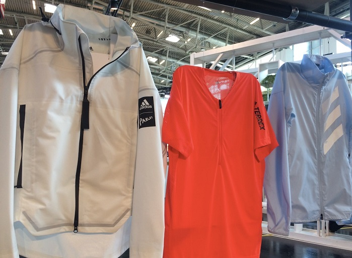 adidas MYSHELTER PARLEY jacket (left) at OutDoor by ISPO 2019. © Anne Prahl