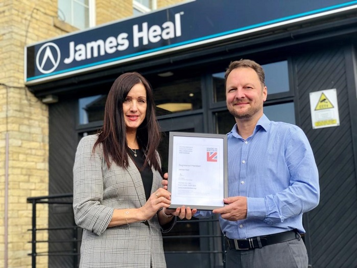 Managing director Amanda McLaren and innovation director Neil Pryke, of James Heal, with the firm's Made in Britain accreditation. © James Heal
