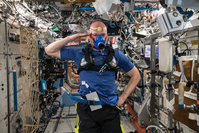 """In his twitter feed from ISS Dr Gerst wrote """"Sweating for science. You can probably tell that SpaceTex & Metabolic Space are some of my favourite experiments. In any case, they will help a lot of people on Earth stay healthy."""" © Hohenstein Institute"""