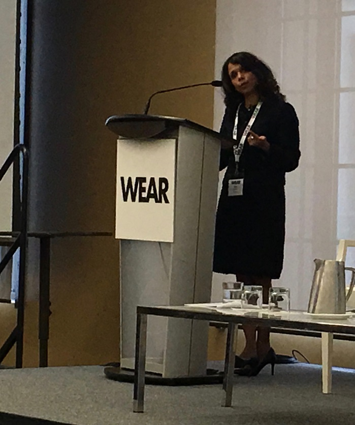 Janice Noronha, Partner, PwC Montreal, specialising in Sustainability and Climate Change Practise, launching the Sustainable Fashion Toolkit. © Marie O'Mahony