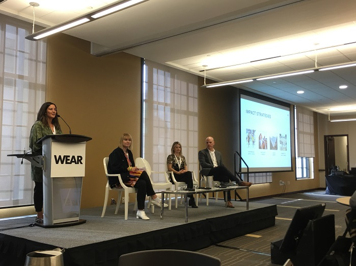Integrating sustainability into retail operations panel discussion (l. to r.) Jessica Iida, Lululemon; Anika Kozlowski, Ryerson University; Karine Kicak, Aldo Group; Mike Newman, Returnity. © Marie O'Mahony