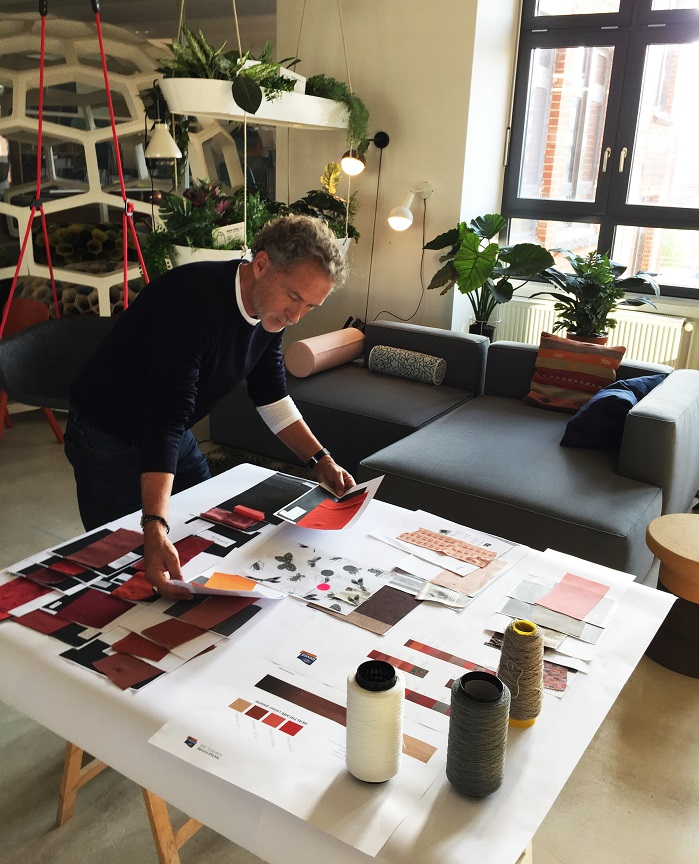 Designer Werner Aisslinger selecting fabrics for special exhibition 'Textile Future by Trevira CS'. © Trevira