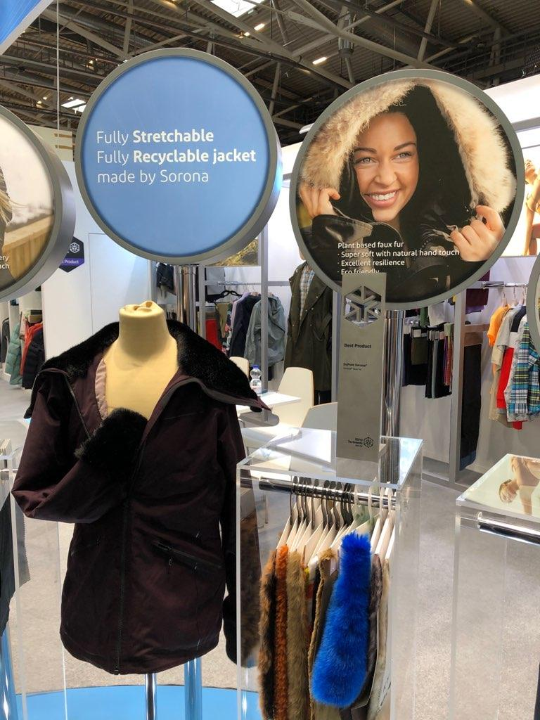 The award winning Soronafaux fur is a key element in the recyclable spandex free stretch jacket being displayed at Outdoor Retailer and ISPO Munich 2020. © DuPont Sorona.