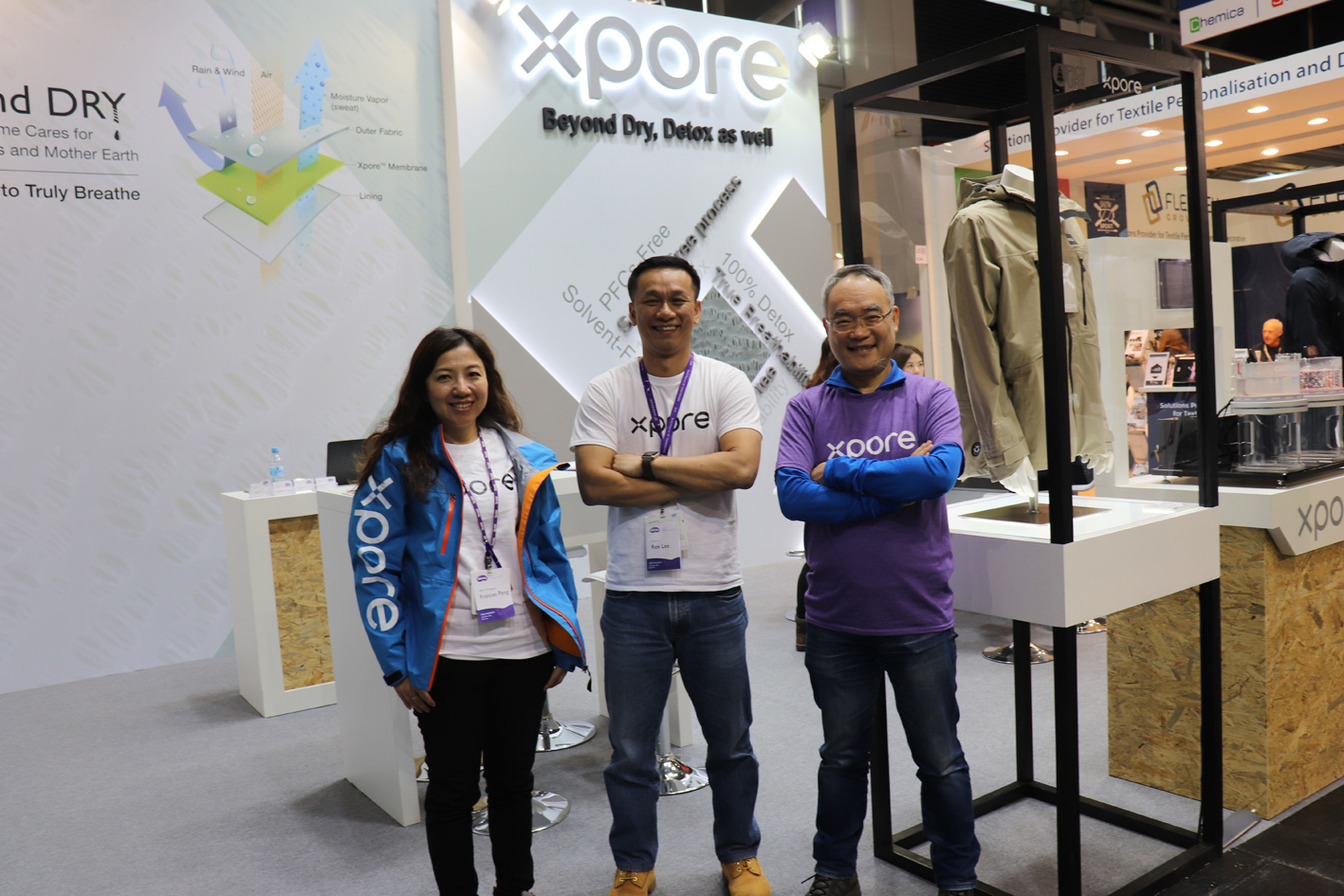 Pictured at ISPO 2020 is Dr Chen (right) with BenQ Materials colleagues Frances Peng and Rex KW Lee.