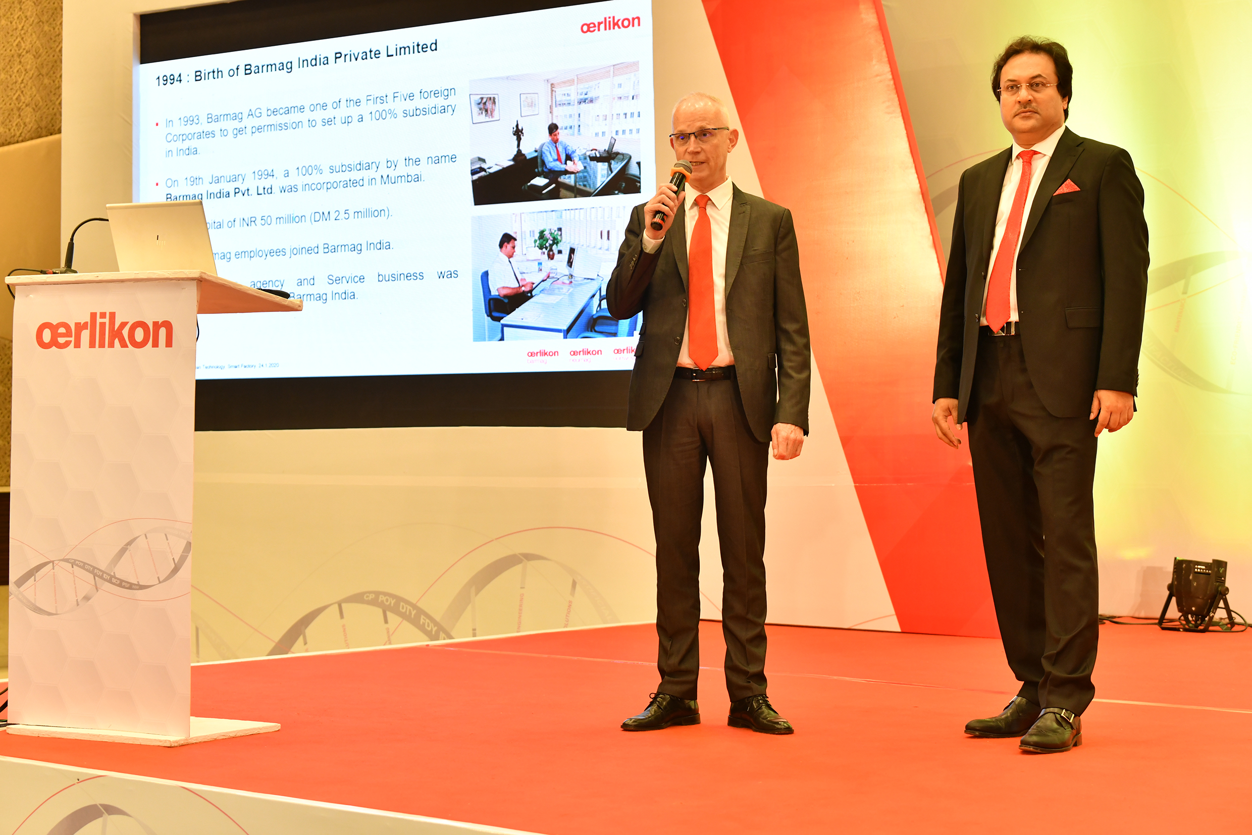 Jürgen Vogel and Debabrata Ghosh opened the technology symposium in Daman, at- tended by around 450 people.
