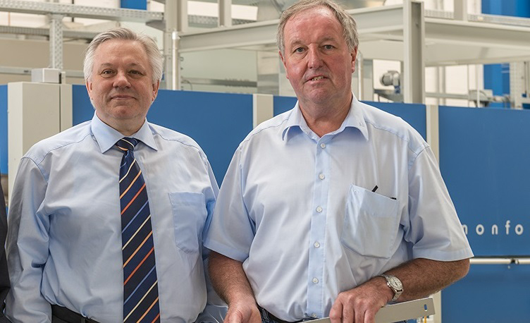 Monforts Head of Technical Textiles Jürgen Hanel (left) with ATC manager Fred Vohsdal, who has now worked for the company for 51 years and has a wealth of accumulated know-how to share with customers.
