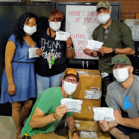 Hanes donates 1 million face masks to non-profit organizations, including Pittsburgh Mercy's Operation Safety Net, to support those experiencing homelessness across America during the COVID-19 pandemic. (Photo: Business Wire).