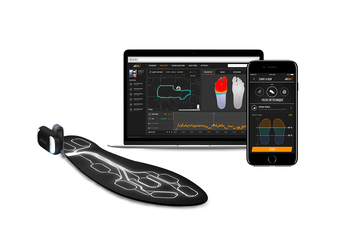 Arion insoles, that have been commercialised by the Dutch company Ato-Gear BV, are flexible and ultra-thin slip and designed to fit neatly under the insoles of running shoes. © Ato-Gear BV.
