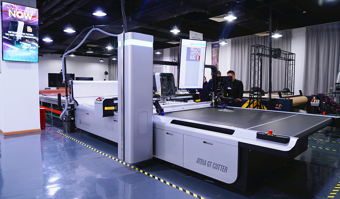 At its annual ideation conference in November, Gerber launched the Gerber Atria Digital Cutter, which provides significant throughput uplift and excellent cutting quality. © Gerber Technology.