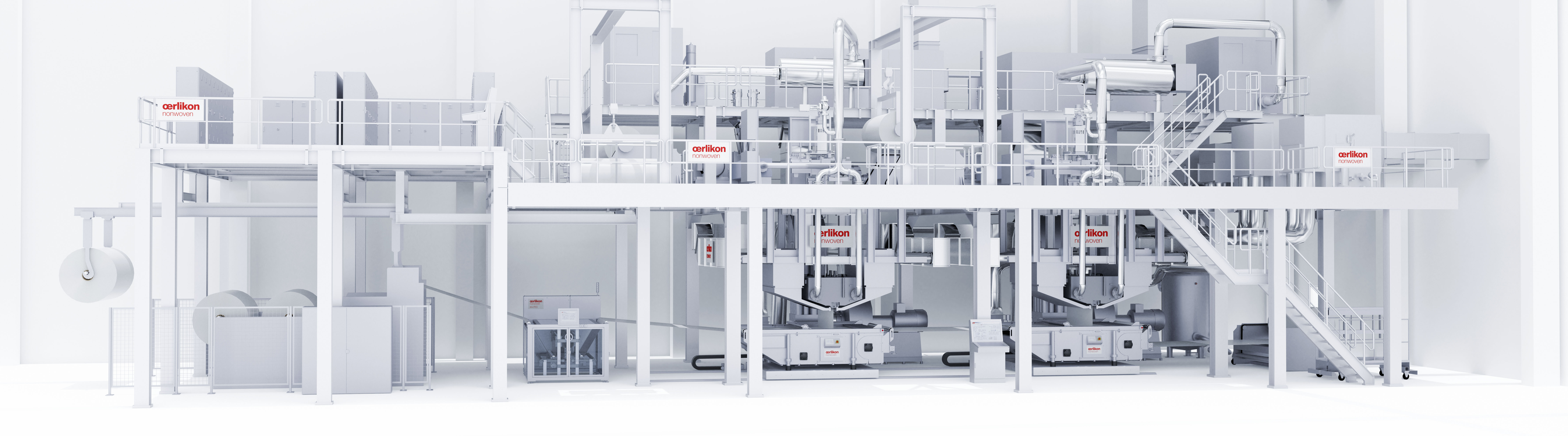 Oerlikon Nonwoven double-beam meltblown system – here with integrated ecuTEC+ for electrostatically-charging the filter media. © Oerlikon.