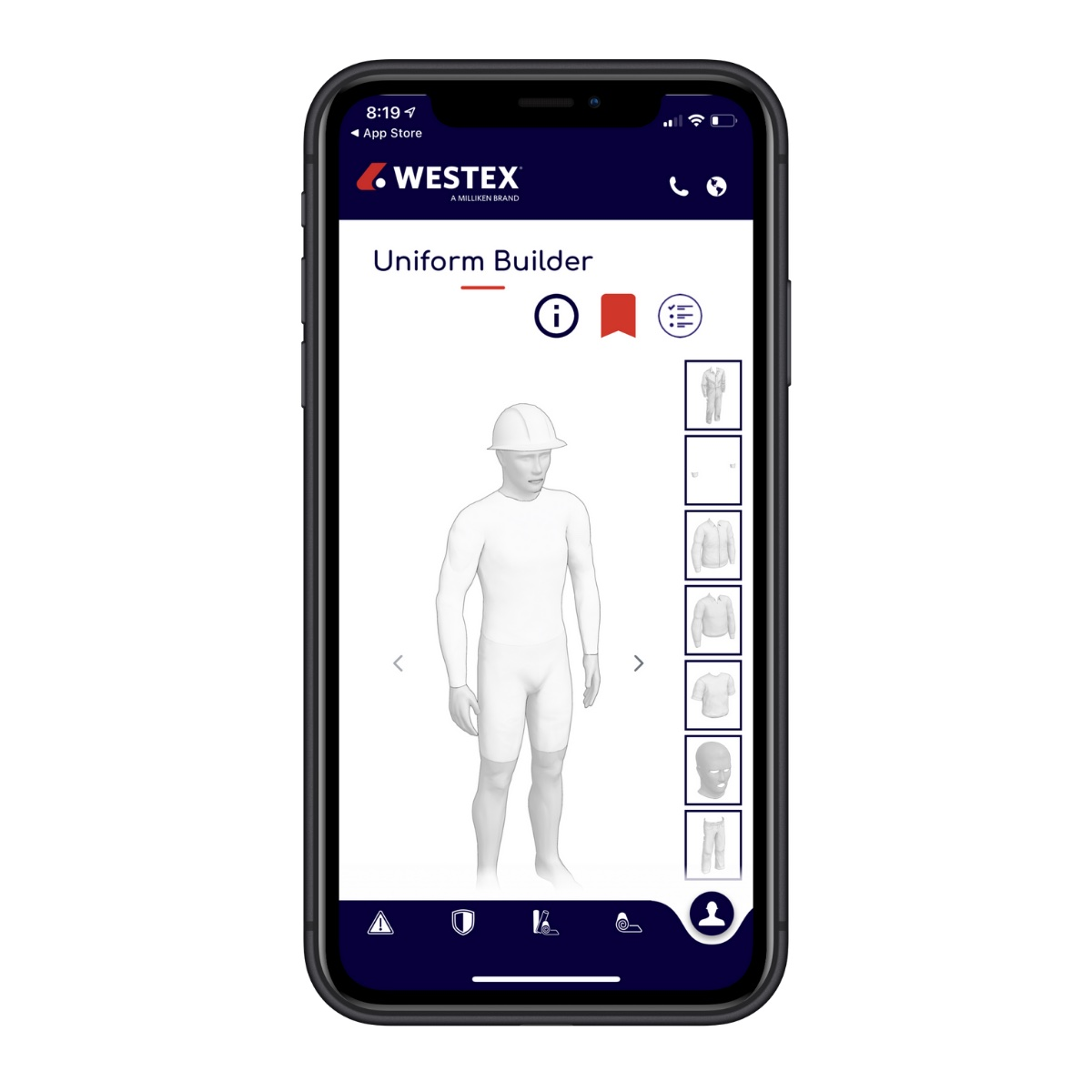 Users start their search with the safety standards applicable to their team's needs and from there, can filter by product attributes like water resistance, anti-static and stretch. © Westex.