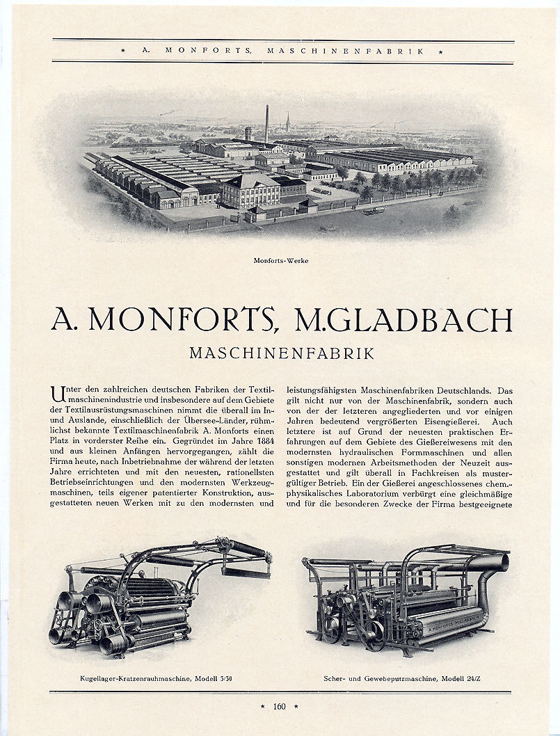 A 1927 advertisement for Monforts with the raising machine depicted bottom left. © Monforts.