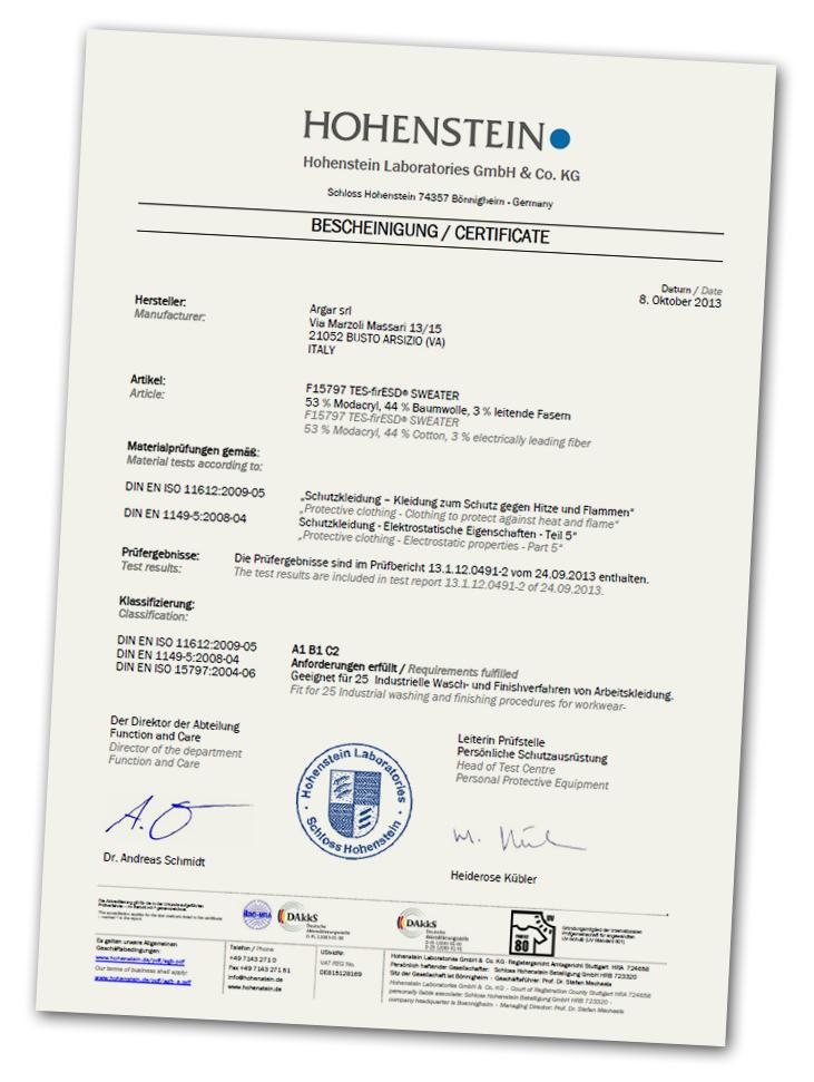 Hohenstein Certificate for Argar Technology
