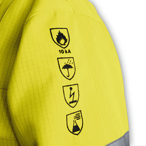 Labels of multi-risk protective wear are accordingly detailed