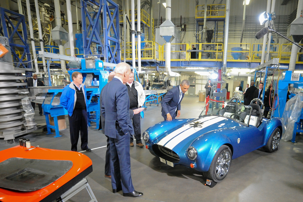 US President Barack Obama visited the Clinton, TN, based Techmer PM, LLC, manufacturing site in January, where the Shelby 3D replica was exhibited. © ORNL / Randy Sartin Photography