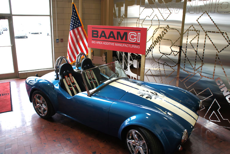 The Shelby was printed at the Department of Energy's Manufacturing Demonstration Facility at ORNL using the Big Area Additive Manufacturing (BAAM) machine. © ORNL