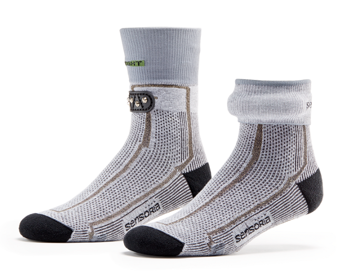 Each smart sock is infused with three thin, soft textile pressure sensors. © Sensoria
