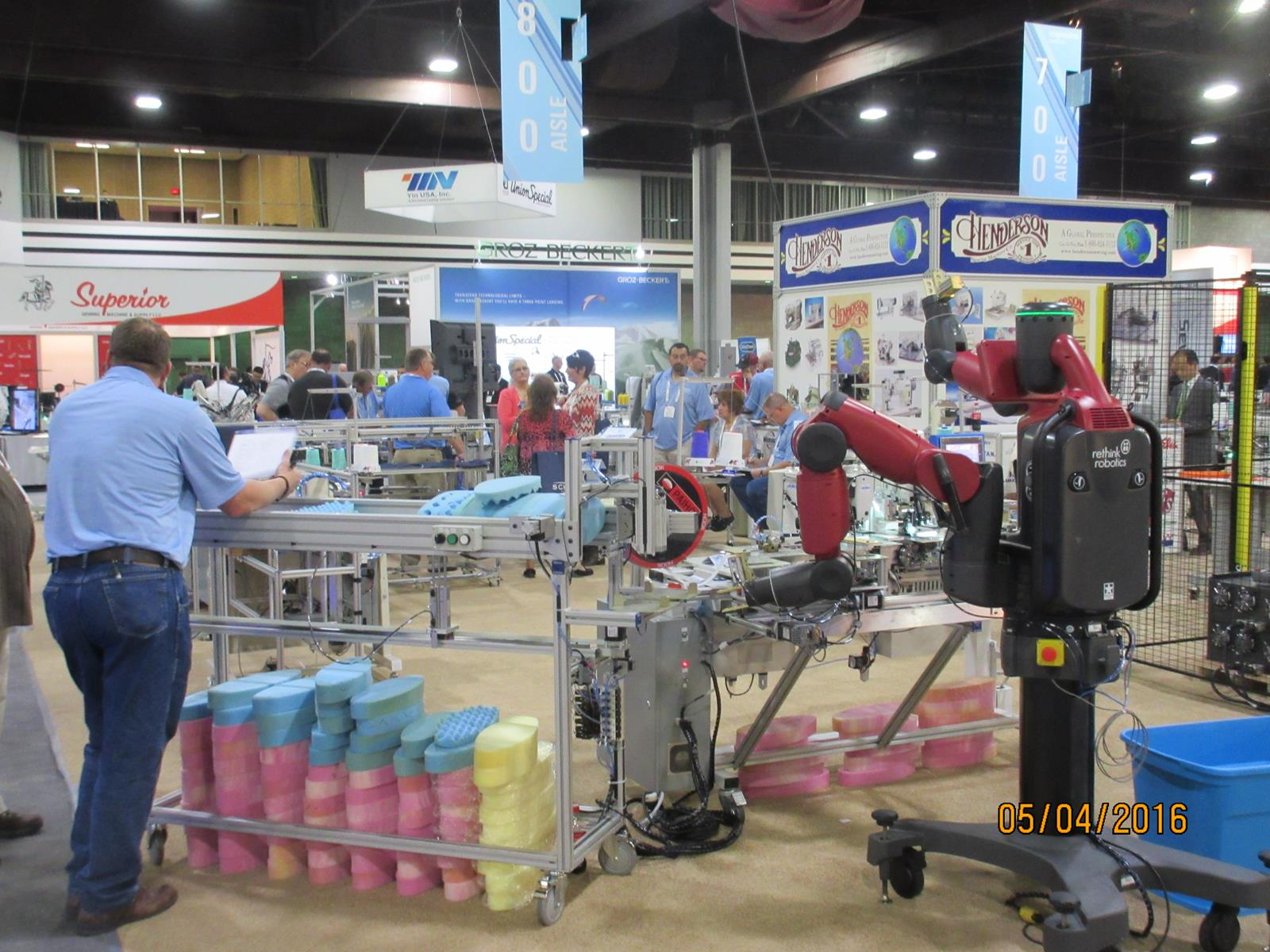 Texprocess had a few extra-large machinery exhibits, including sewing machines, robots, fabric cutting and handling equipment and the like. © Bill Smith