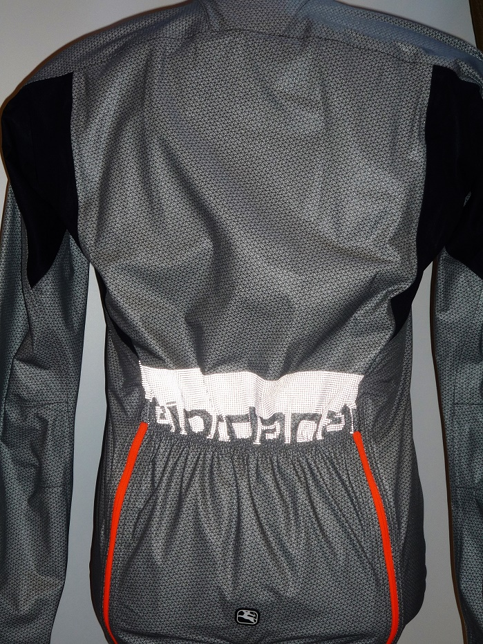 Giordana's Monsoon jacket with waterproof eVent DValpine technology sported a hidden reflective logo on the back. © Debra Cobb