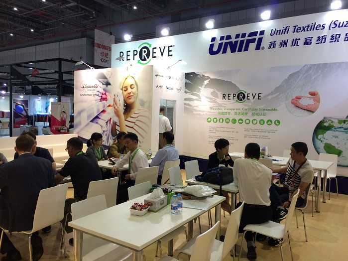 Unifi Textile (Suzhou) exhibited a range of branded technologies made with Repreve, a brand of fibres made from recycled materials.