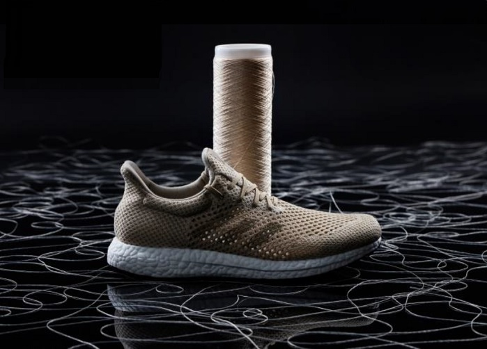 The adidas Futurecraft Biofabric prototype shoe features an upper made from 100% Biosteel fibre. © adidas