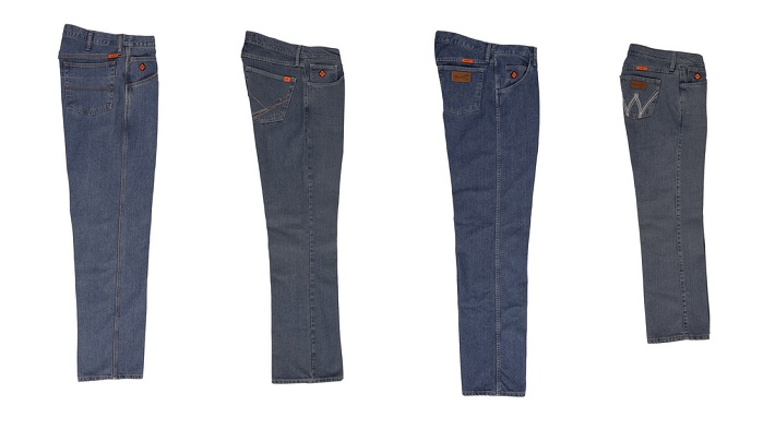 """5fda178d Wrangler FR Cool Vantage jeans are offered in a variety of fits and finishes  for both. """""""