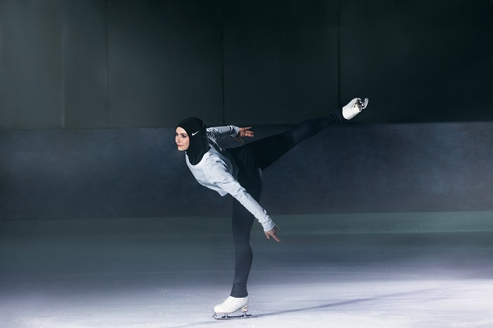 Emirati figure skater Zahra Lari is already wearing the hijab on the ice. © Nike