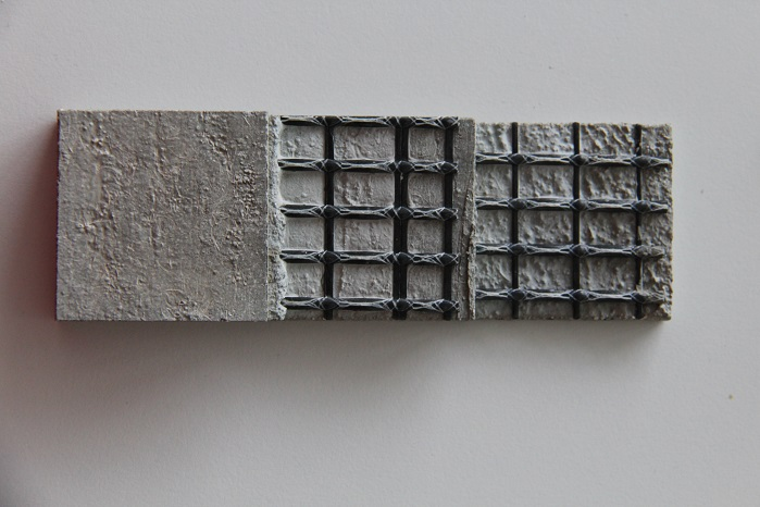 Textile-reinforced concrete with a reinforcement made from a warp-knitted grid construction. © Karl Mayer