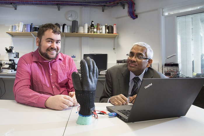 Dr Theodore Hughes-Riley and Professor Tilak Dias © Nottingham Trent University