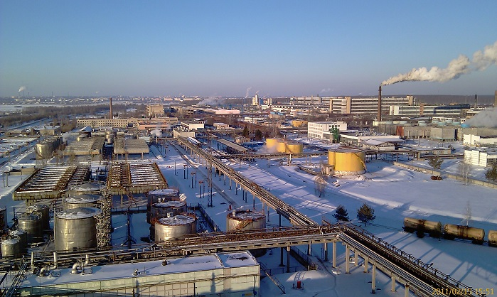 View of Mogilevkhimvolokno production complex.