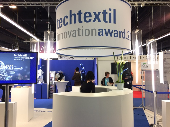 Techtextil Innovation Awards winning products display area. © Innovation in Textiles