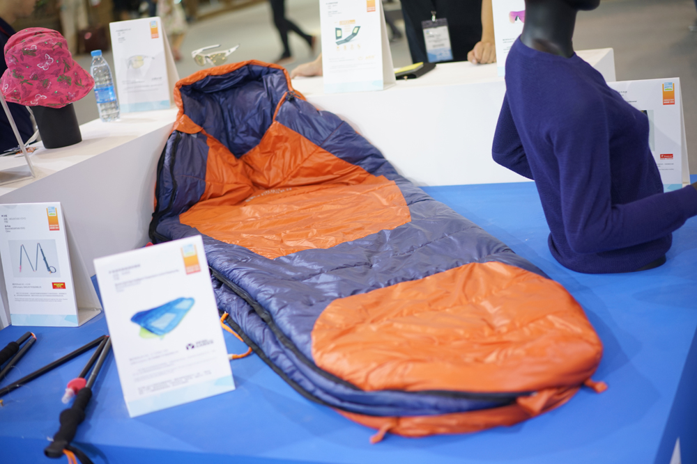 Sleeping bag made with nanogy technology at OutDoor. © Acanthurus