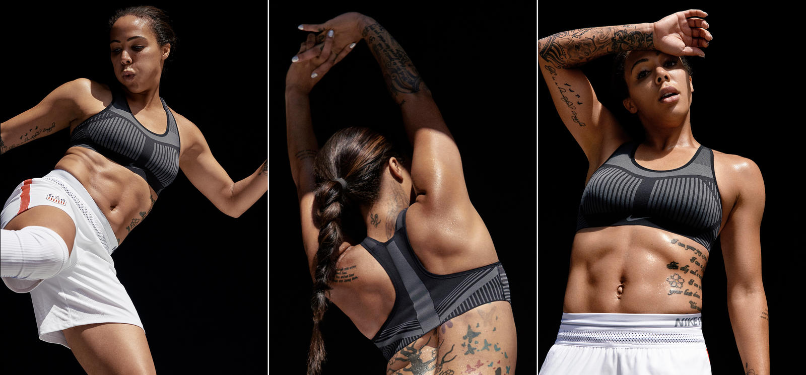 Soccer player and Olympic gold medalist Sydney Leroux works out in the Nike FE/NOM Flyknit Bra that combines high-support performance with unmatched comfort. © Nike