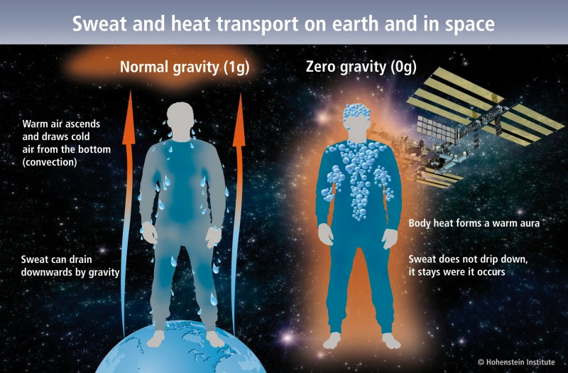 The Spacetex project examined how heat and moisture behaved in fabrics in zero gravity during an astronaut's mandatory daily physical exercise. © Hohenstein Institute