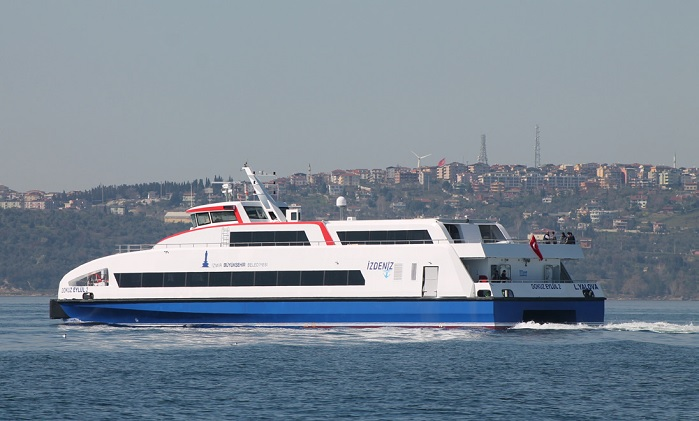 The new passenger ship built for Izmir Metropolitan Municipality at Özata Shipyard. © Sigmatex