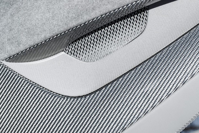 The all-electric I-PACE concept car features a flowing seat layout produced by Hypetex engineers in its bespoke silver carbon fibre. © Hypetex/ Jaguar