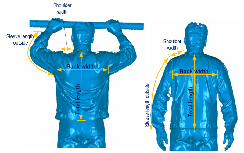 Movement changes the physical dimensions. During overhead work, the back width, back length and arm length, for example, are increased whereas the shoulder width is reduced. © Hohenstein Group