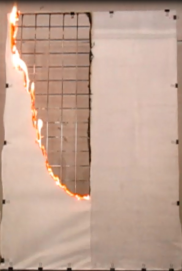 Test combustion of paper with (right) and without Landex Coat Flame Retardant Clear treatment. © Teijin Limited