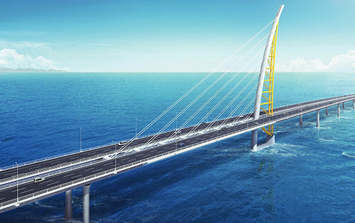 Visualisation of the finished 36 km long Sheikh Jaber Al-Ahmad Al-Sabah bridge. © Fibertex Nonwovens