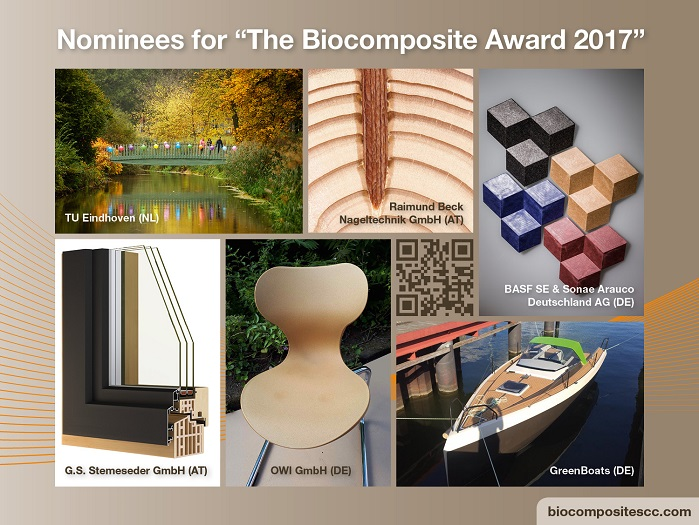 Nominees for The Biocomposite Award 2017. © BCC